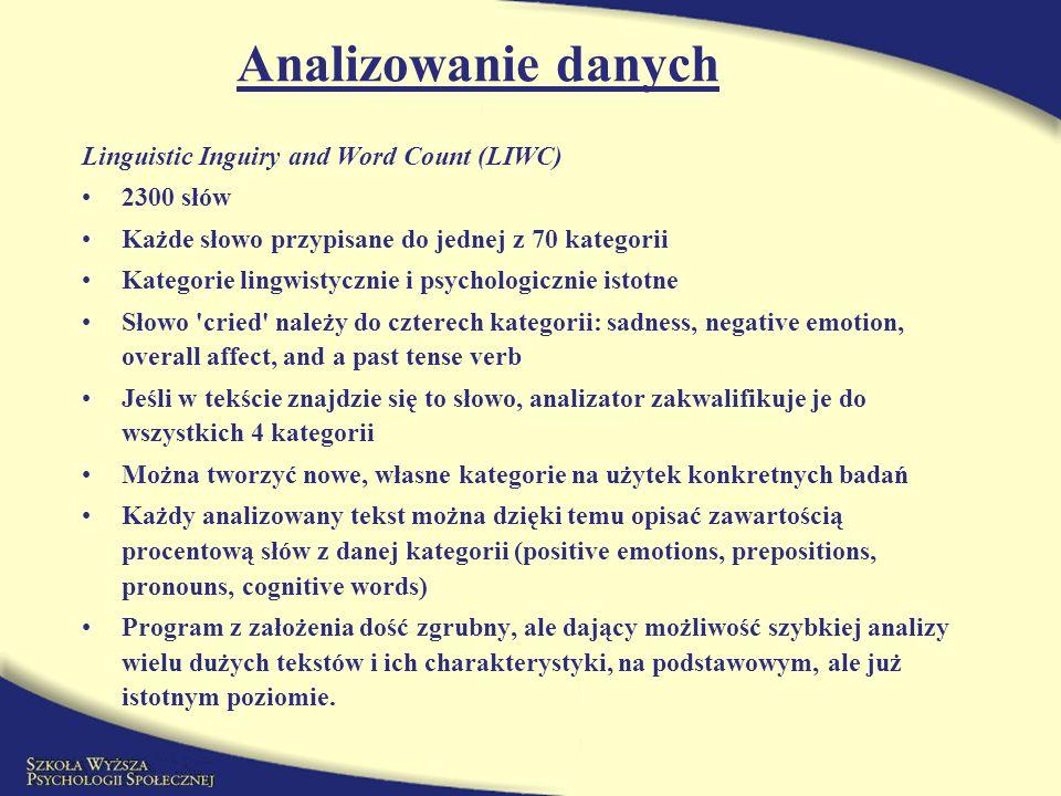 Analizowanie danych Linguistic Inguiry and Word Count (LIWC) 2300 słów