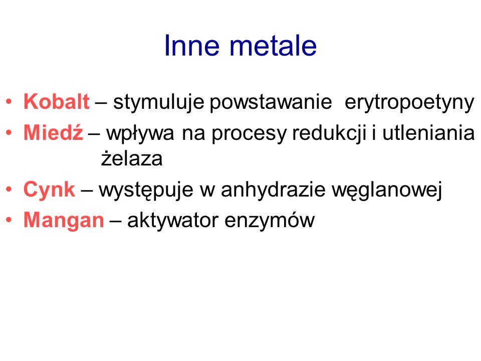 Inne metale Kobalt – stymuluje powstawanie erytropoetyny