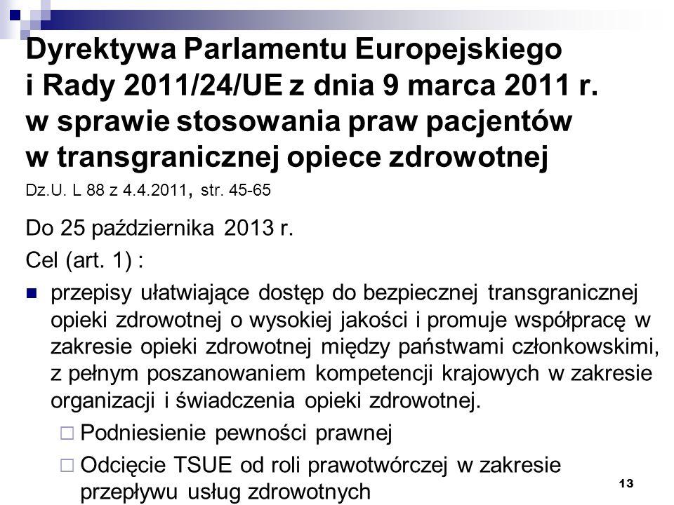 Dyrektywa Parlamentu Europejskiego i Rady 2011/24/UE z dnia 9 marca 2011 r. w sprawie stosowania praw pacjentów w transgranicznej opiece zdrowotnej Dz.U. L 88 z 4.4.2011, str. 45-65