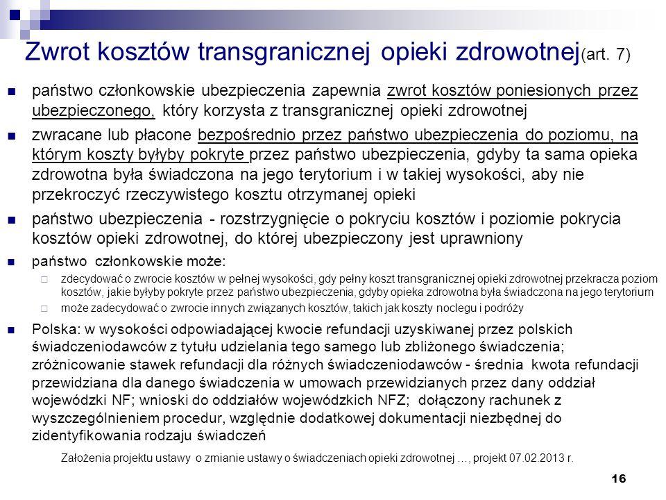 Zwrot kosztów transgranicznej opieki zdrowotnej(art. 7)