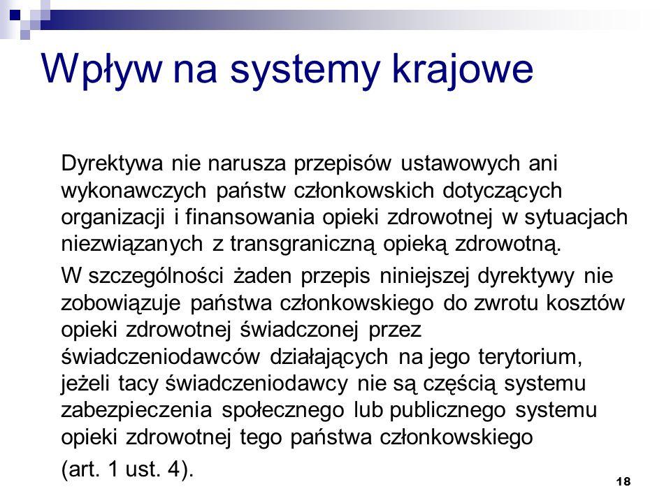 Wpływ na systemy krajowe