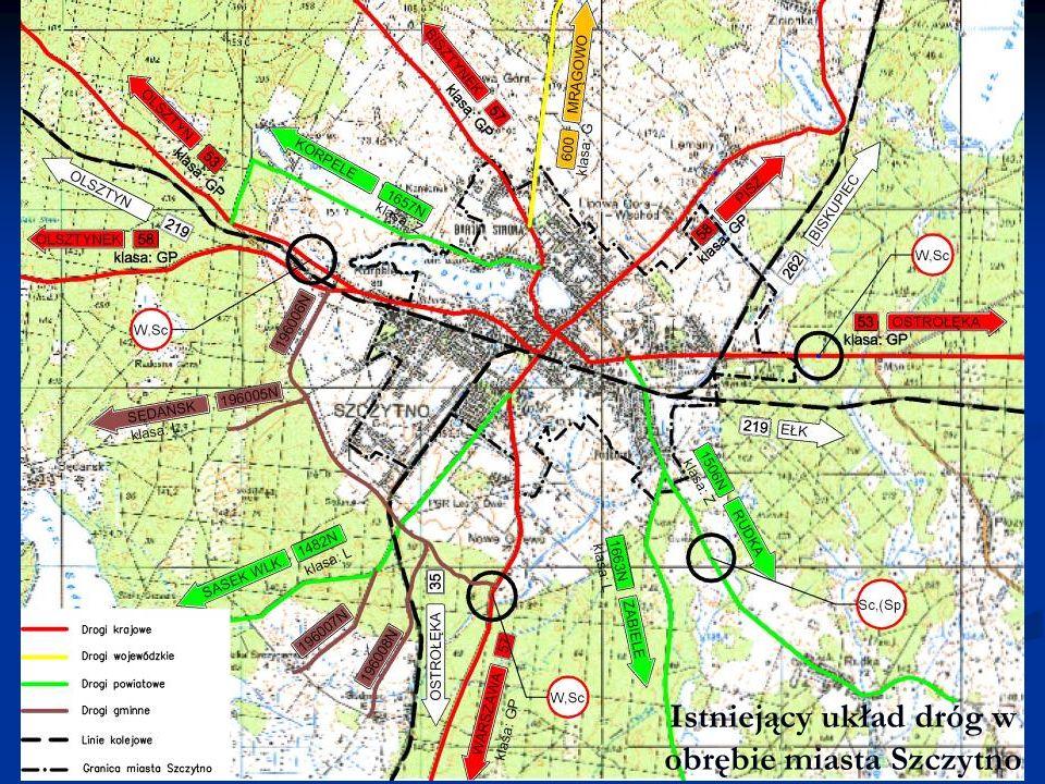 Istniejący układ dróg w obrębie miasta Szczytno