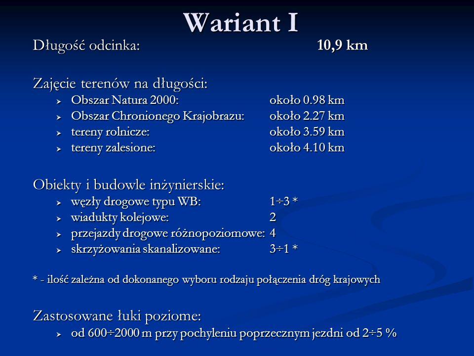 Wariant I Długość odcinka: 10,9 km Zajęcie terenów na długości: