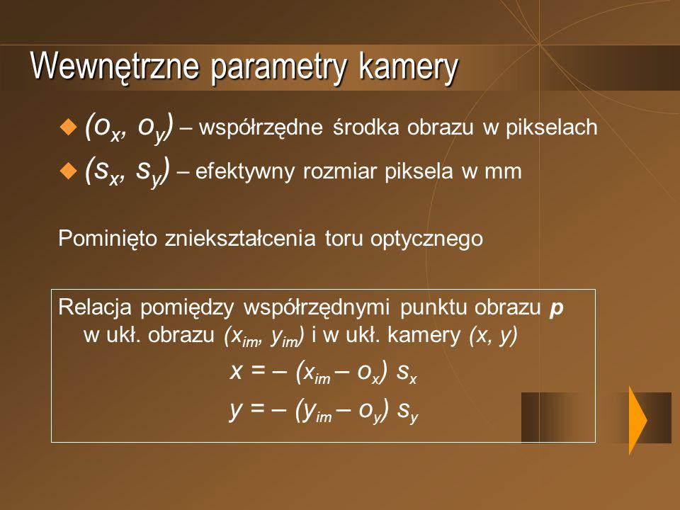 Wewnętrzne parametry kamery