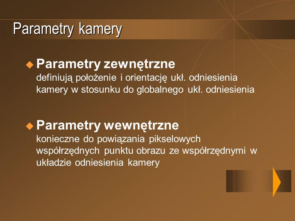 Parametry kameryParametry zewnętrzne definiują położenie i orientację ukł. odniesienia kamery w stosunku do globalnego ukł. odniesienia.