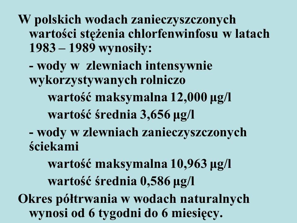 W polskich wodach zanieczyszczonych wartości stężenia chlorfenwinfosu w latach 1983 – 1989 wynosiły: