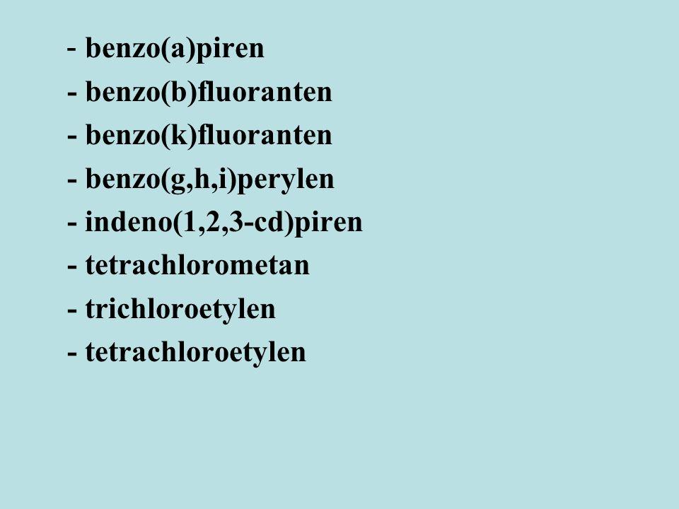 - benzo(a)piren - benzo(b)fluoranten. - benzo(k)fluoranten. - benzo(g,h,i)perylen. - indeno(1,2,3-cd)piren.