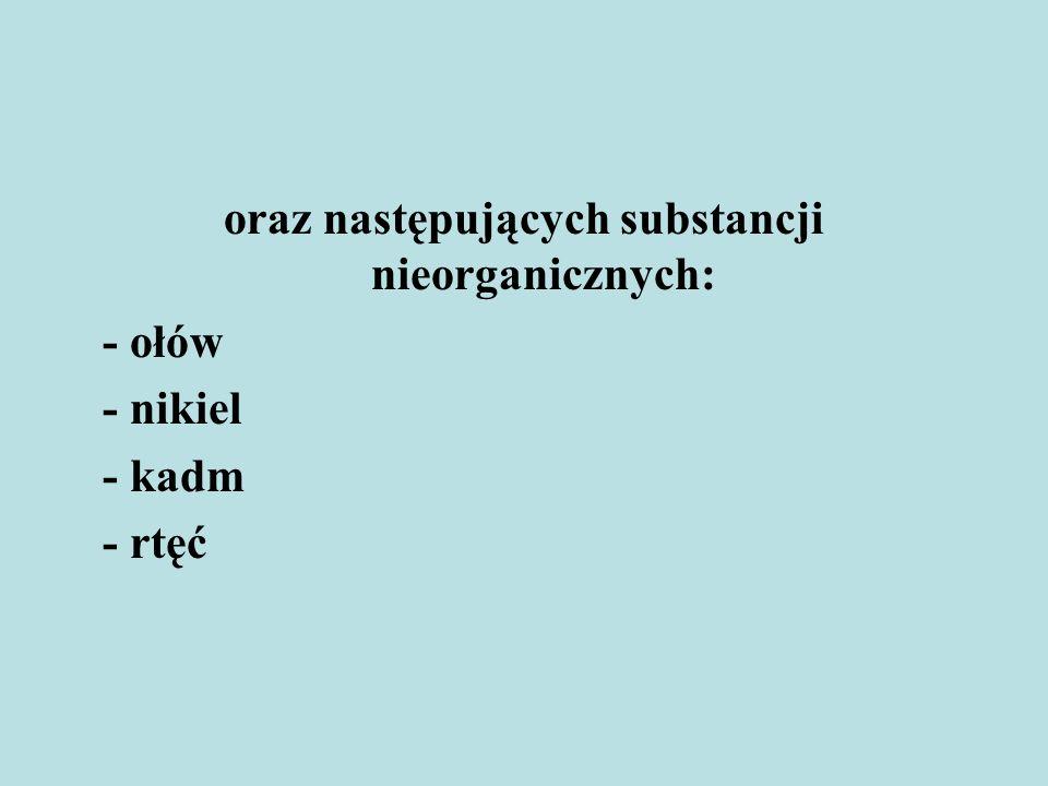oraz następujących substancji nieorganicznych: