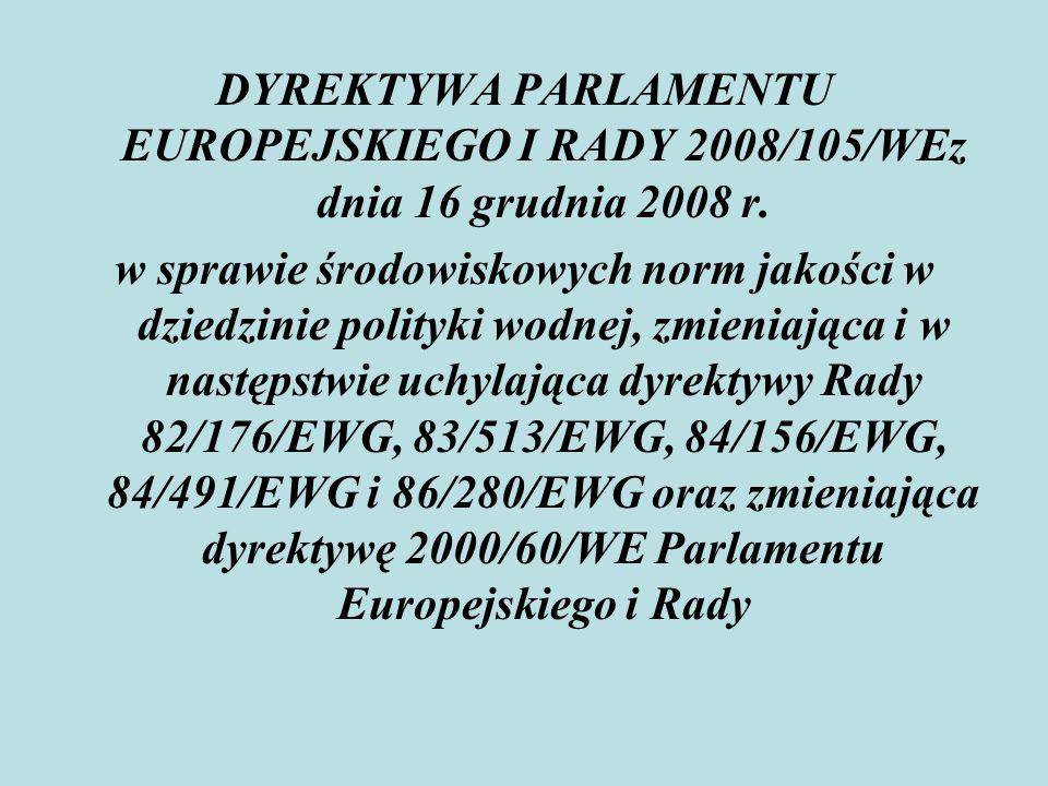 DYREKTYWA PARLAMENTU EUROPEJSKIEGO I RADY 2008/105/WEz dnia 16 grudnia 2008 r.