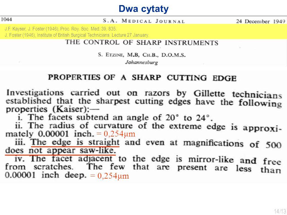 Dwa cytaty J.F. Kayser, J. Foster (1946), Proc. Roy. Soc. Med. 39, 835.