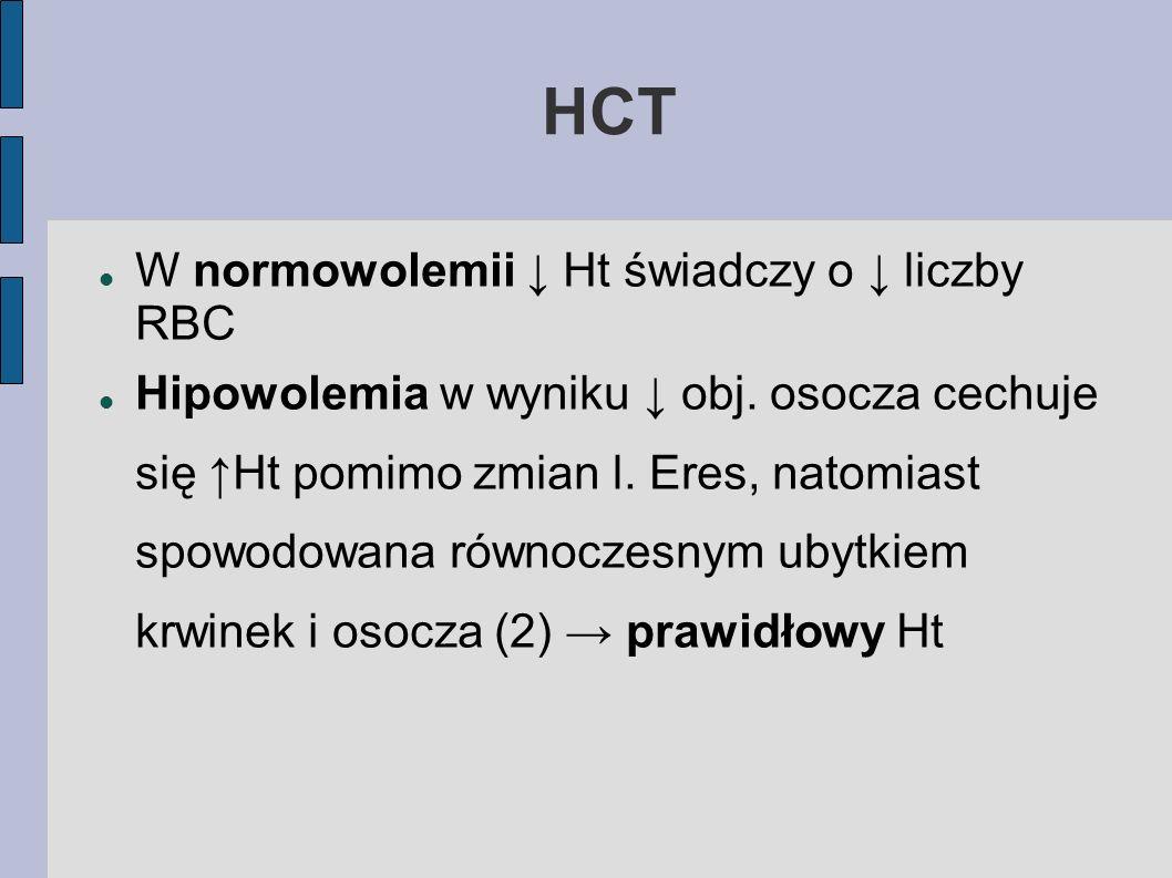 HCT W normowolemii ↓ Ht świadczy o ↓ liczby RBC