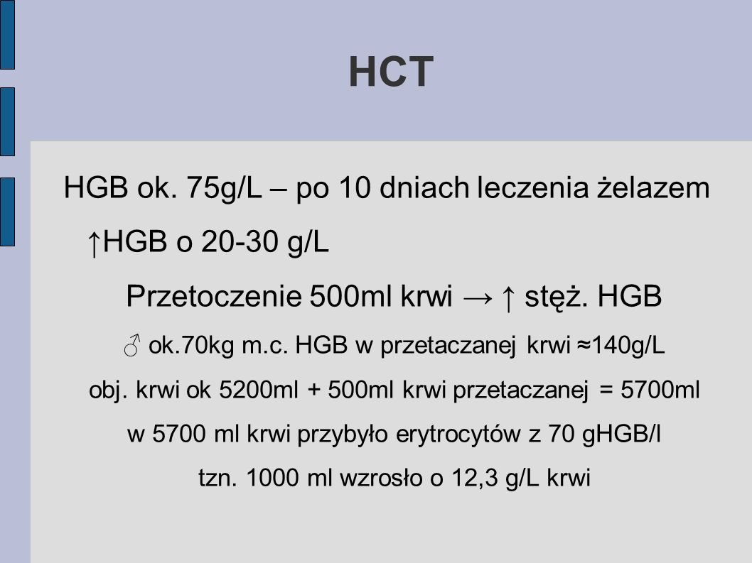 HCT HGB ok. 75g/L – po 10 dniach leczenia żelazem ↑HGB o 20-30 g/L
