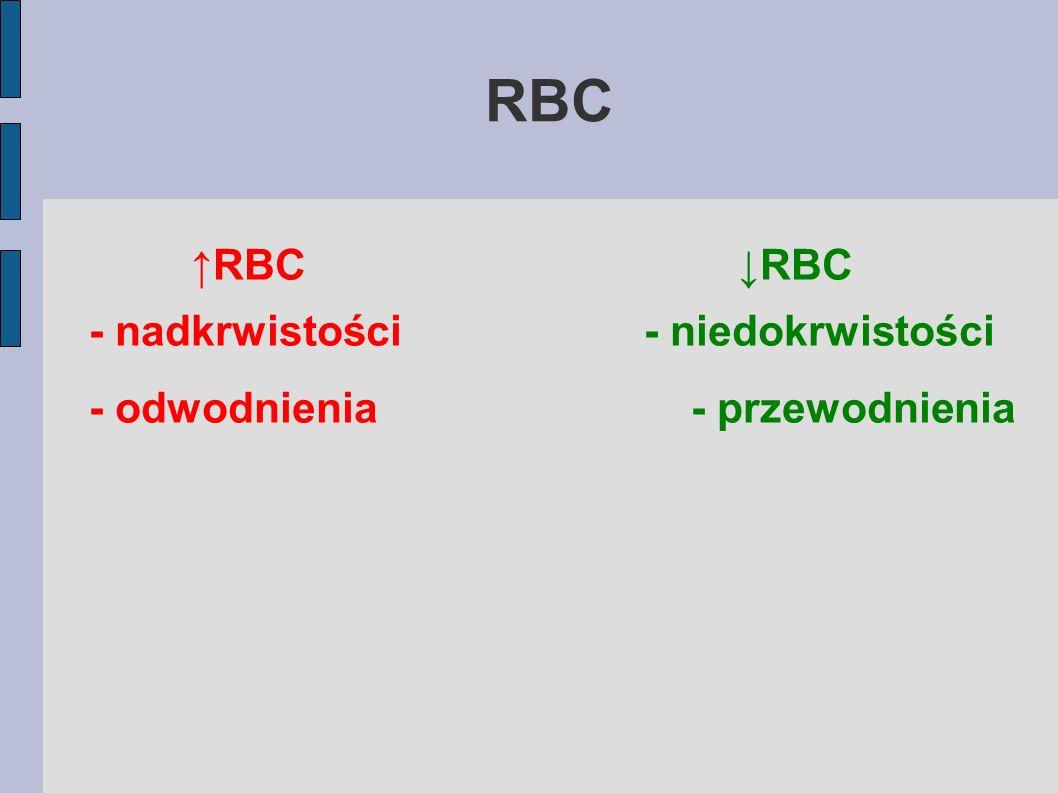 RBC ↑RBC ↓RBC - nadkrwistości - niedokrwistości