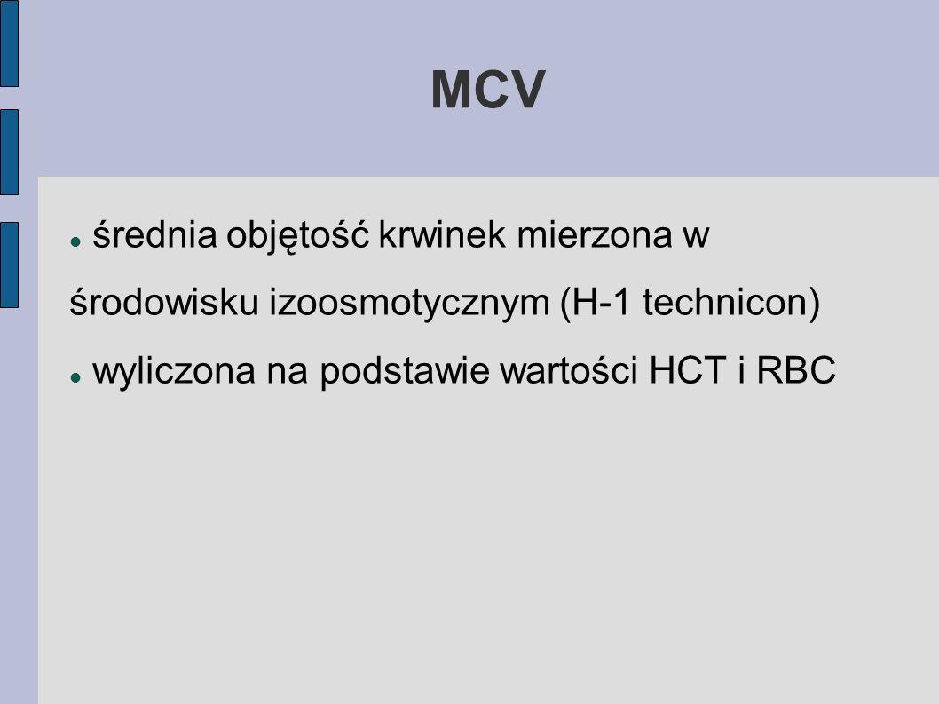 MCVśrednia objętość krwinek mierzona w środowisku izoosmotycznym (H-1 technicon) wyliczona na podstawie wartości HCT i RBC.