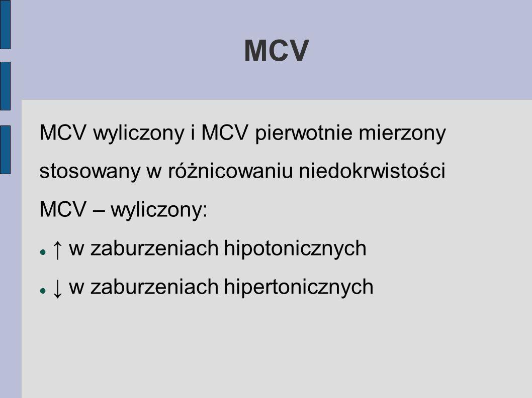 MCV MCV wyliczony i MCV pierwotnie mierzony stosowany w różnicowaniu niedokrwistości. MCV – wyliczony: