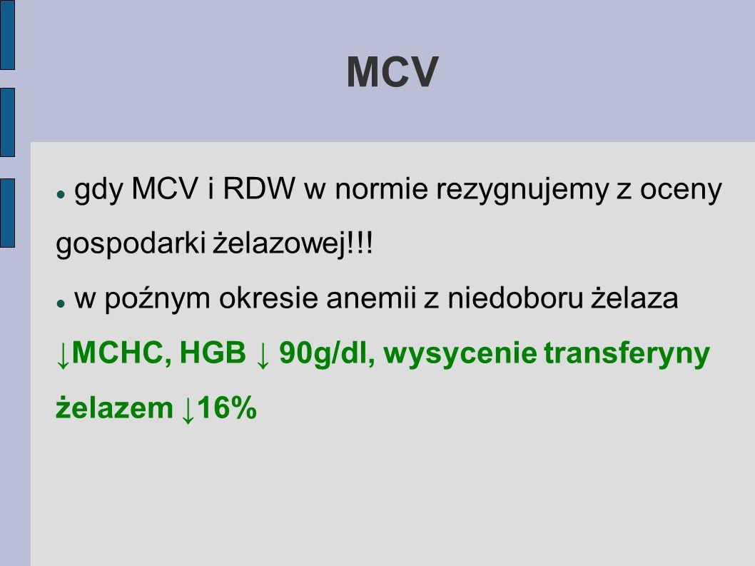 MCV gdy MCV i RDW w normie rezygnujemy z oceny gospodarki żelazowej!!!
