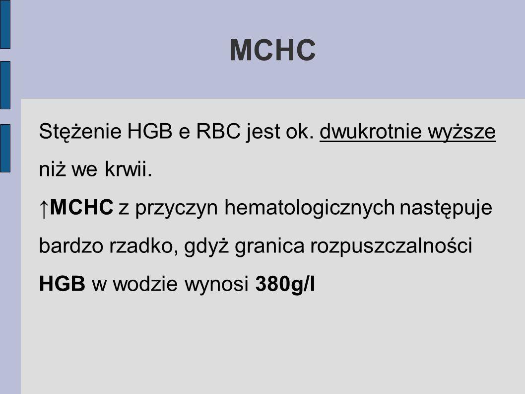 MCHC Stężenie HGB e RBC jest ok. dwukrotnie wyższe niż we krwii.