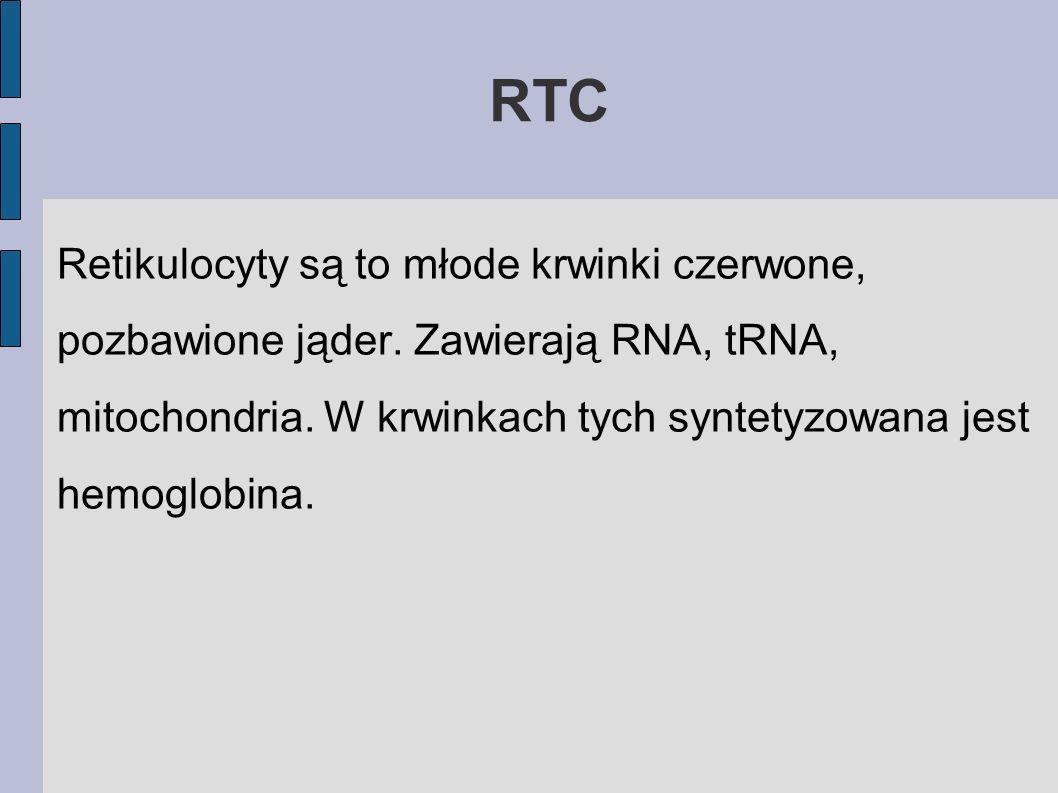 RTC Retikulocyty są to młode krwinki czerwone, pozbawione jąder.
