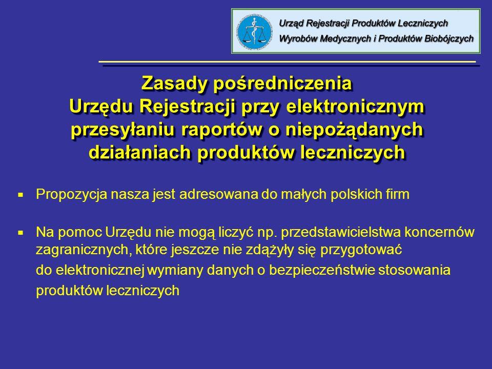 Zasady pośredniczenia Urzędu Rejestracji przy elektronicznym przesyłaniu raportów o niepożądanych działaniach produktów leczniczych