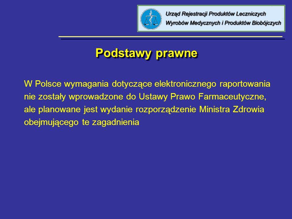 Podstawy prawne W Polsce wymagania dotyczące elektronicznego raportowania. nie zostały wprowadzone do Ustawy Prawo Farmaceutyczne,