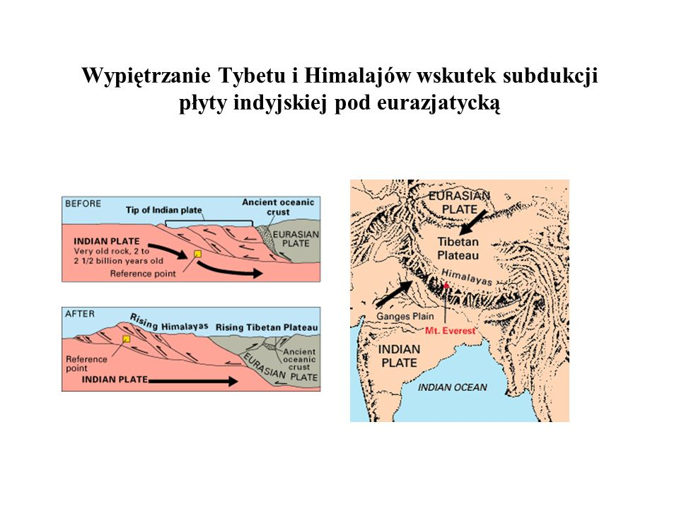 Wypiętrzanie Tybetu i Himalajów wskutek subdukcji płyty indyjskiej pod eurazjatycką