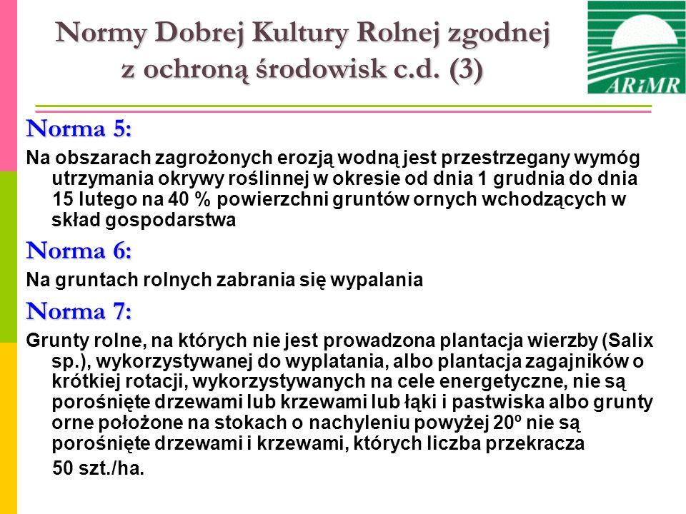 Normy Dobrej Kultury Rolnej zgodnej z ochroną środowisk c.d. (3)