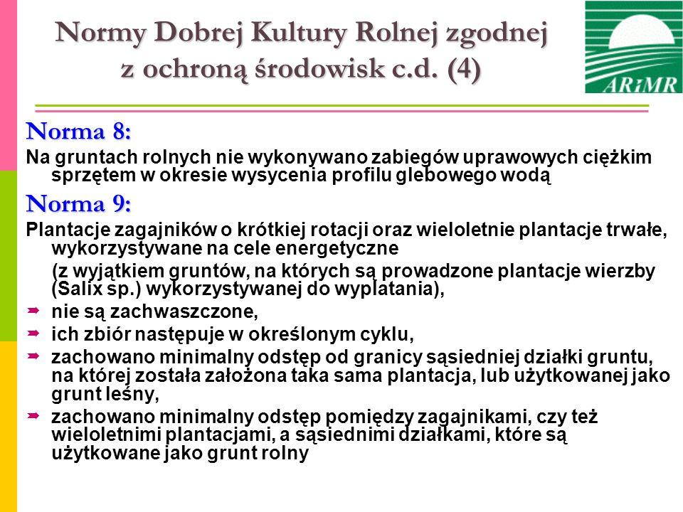 Normy Dobrej Kultury Rolnej zgodnej z ochroną środowisk c.d. (4)