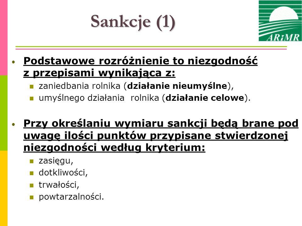 Sankcje (1) Podstawowe rozróżnienie to niezgodność z przepisami wynikająca z: zaniedbania rolnika (działanie nieumyślne),