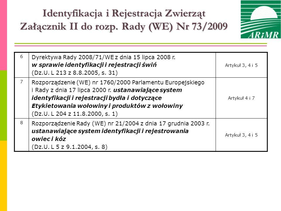 Identyfikacja i Rejestracja Zwierząt Załącznik II do rozp