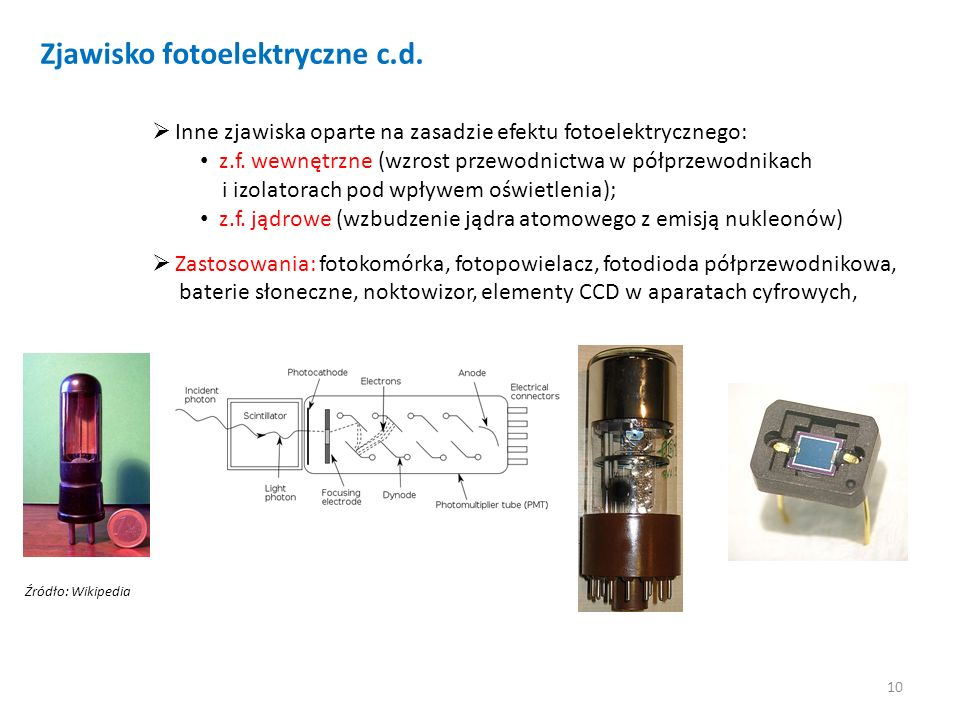 Zjawisko fotoelektryczne c.d.