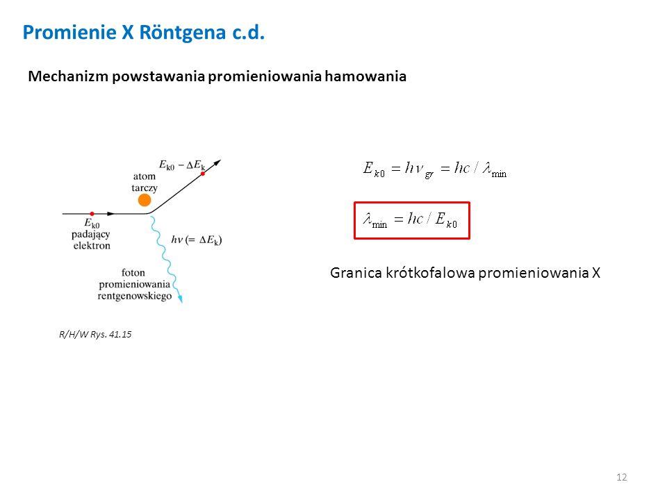 Promienie X Röntgena c.d.