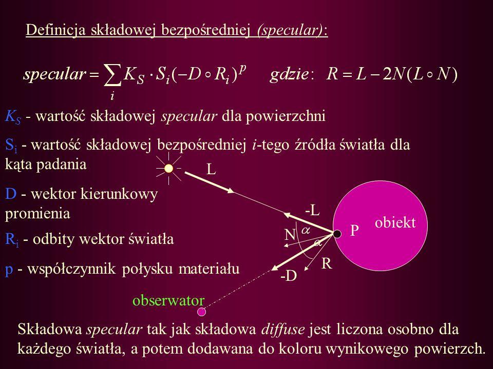 Definicja składowej bezpośredniej (specular):