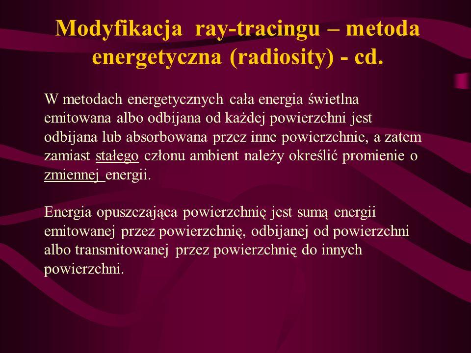 Modyfikacja ray-tracingu – metoda energetyczna (radiosity) - cd.