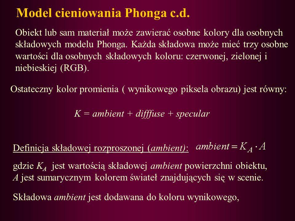 Model cieniowania Phonga c.d.