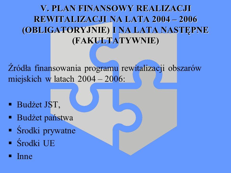 V. PLAN FINANSOWY REALIZACJI REWITALIZACJI NA LATA 2004 – 2006 (OBLIGATORYJNIE) I NA LATA NASTĘPNE (FAKULTATYWNIE)