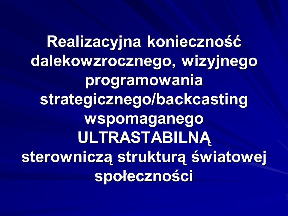 Realizacyjna konieczność dalekowzrocznego, wizyjnego programowania strategicznego/backcasting wspomaganego ULTRASTABILNĄ sterowniczą strukturą światowej społeczności