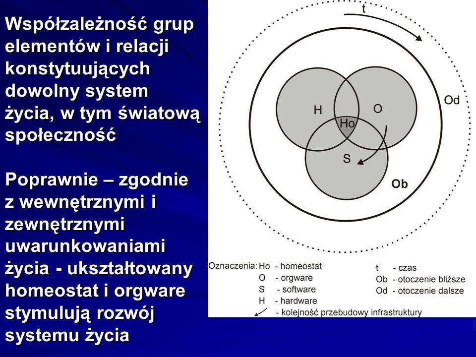 Współzależność grup elementów i relacji konstytuujących dowolny system życia, w tym światową społeczność Poprawnie – zgodnie z wewnętrznymi i zewnętrznymi uwarunkowaniami życia - ukształtowany homeostat i orgware stymulują rozwój systemu życia