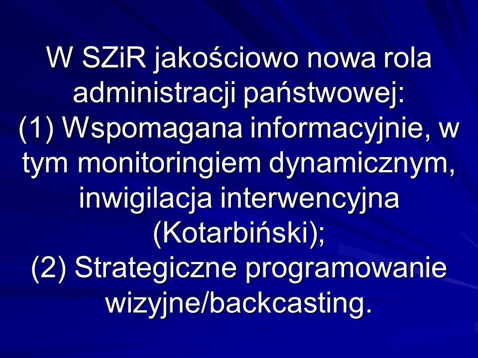 W SZiR jakościowo nowa rola administracji państwowej: (1) Wspomagana informacyjnie, w tym monitoringiem dynamicznym, inwigilacja interwencyjna (Kotarbiński); (2) Strategiczne programowanie wizyjne/backcasting.
