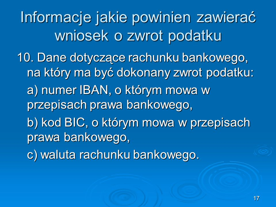 Informacje jakie powinien zawierać wniosek o zwrot podatku