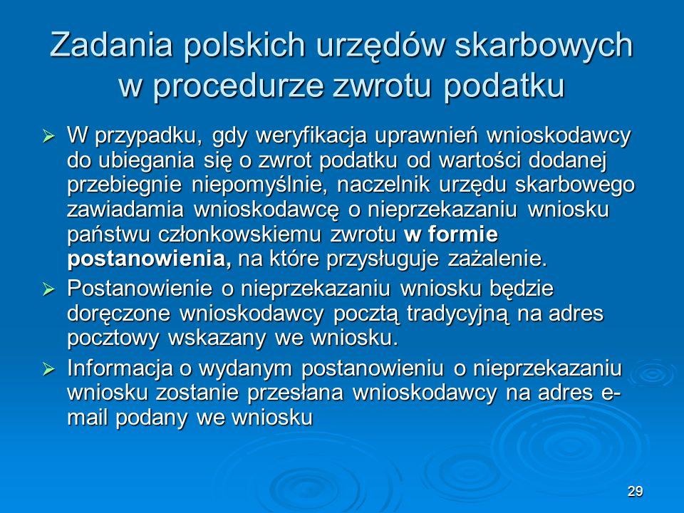Zadania polskich urzędów skarbowych w procedurze zwrotu podatku