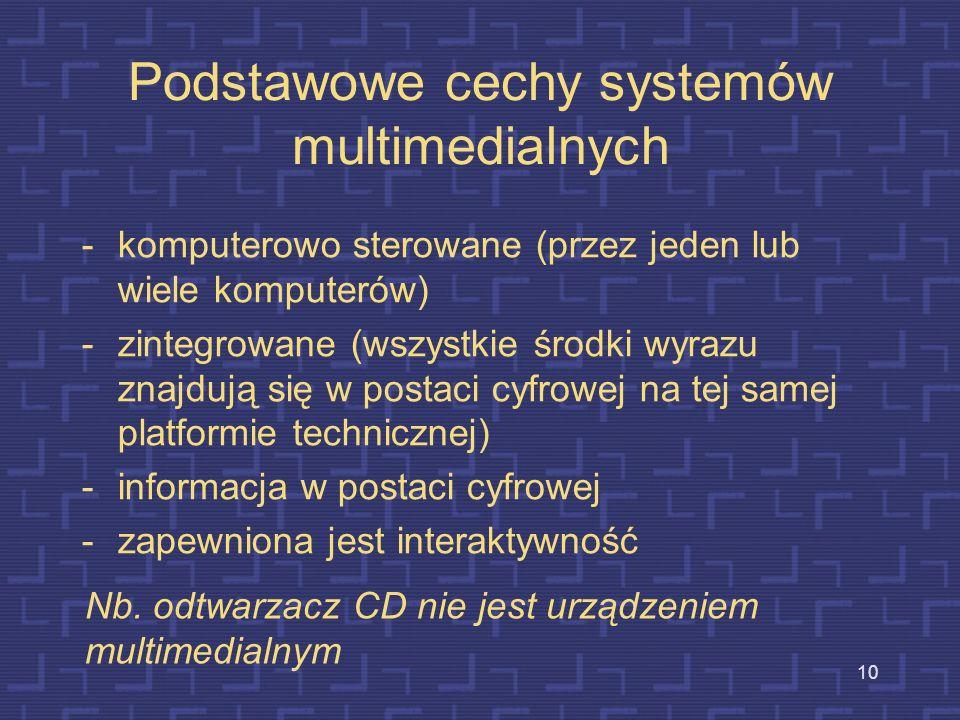 Podstawowe cechy systemów multimedialnych