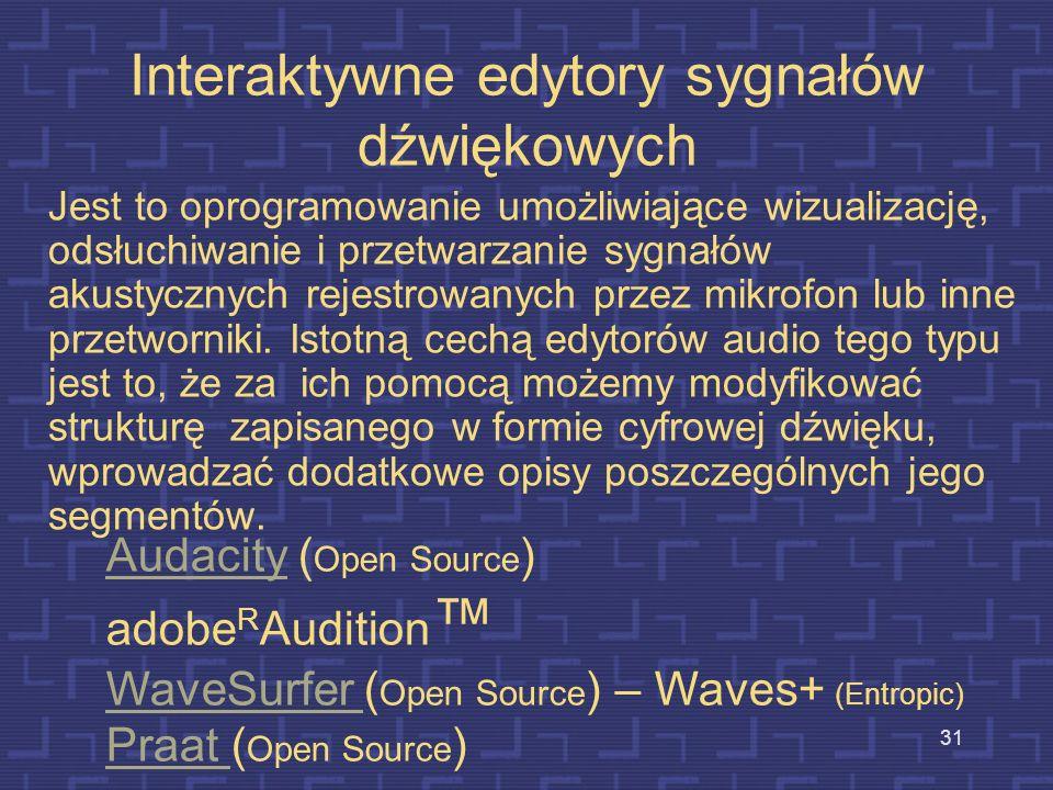 Interaktywne edytory sygnałów dźwiękowych