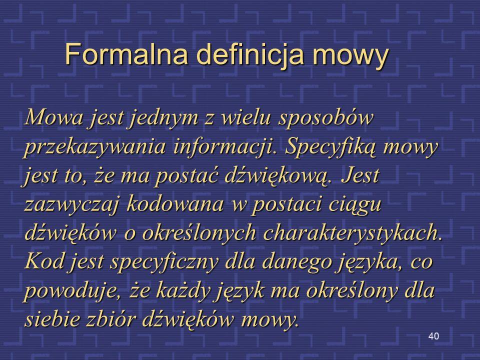 Formalna definicja mowy