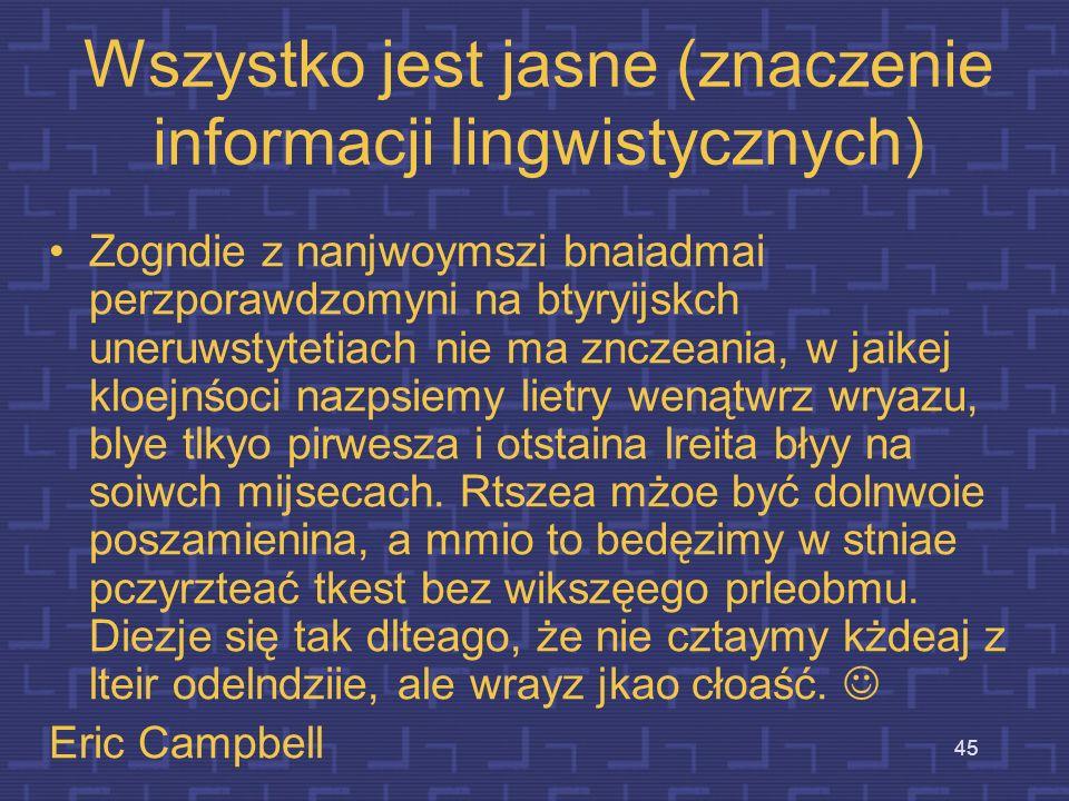 Wszystko jest jasne (znaczenie informacji lingwistycznych)