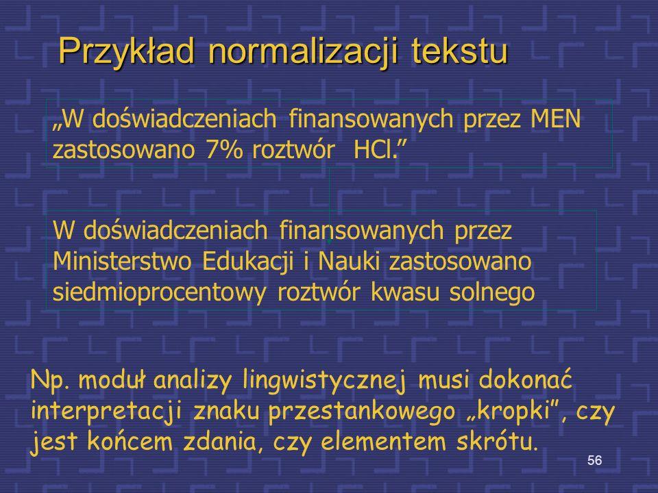 Przykład normalizacji tekstu