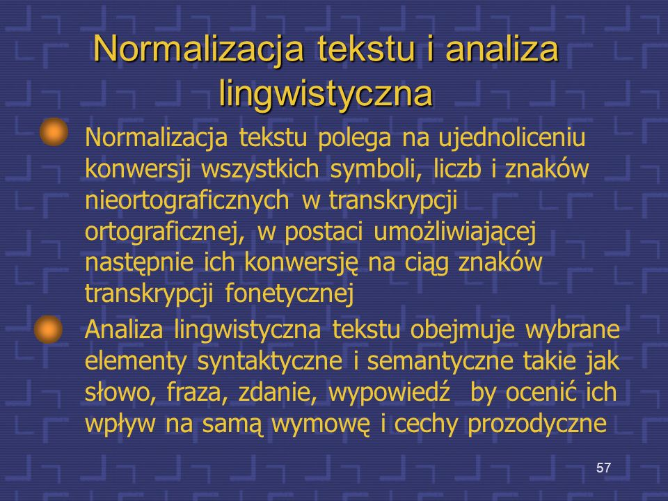 Normalizacja tekstu i analiza lingwistyczna