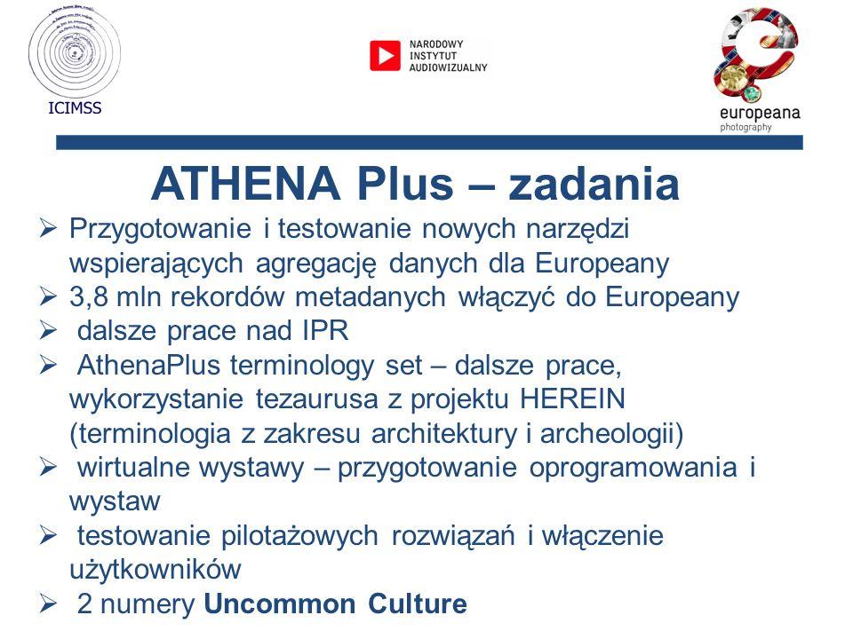 ATHENA Plus – zadania Przygotowanie i testowanie nowych narzędzi wspierających agregację danych dla Europeany.