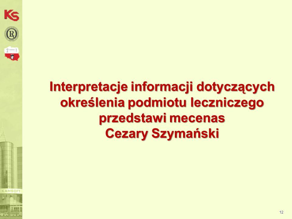 Interpretacje informacji dotyczących określenia podmiotu leczniczego przedstawi mecenas Cezary Szymański