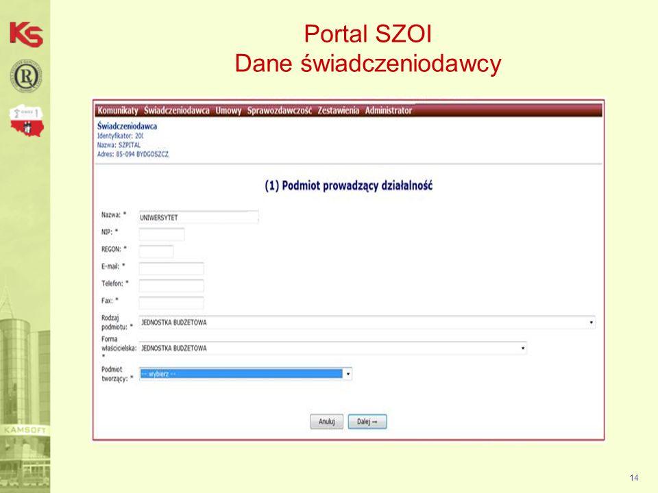 Portal SZOI Dane świadczeniodawcy