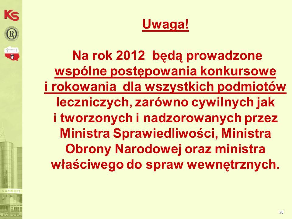 Uwaga! Na rok 2012 będą prowadzone wspólne postępowania konkursowe i rokowania dla wszystkich podmiotów leczniczych, zarówno cywilnych jak i tworzonych i nadzorowanych przez Ministra Sprawiedliwości, Ministra Obrony Narodowej oraz ministra właściwego do spraw wewnętrznych.